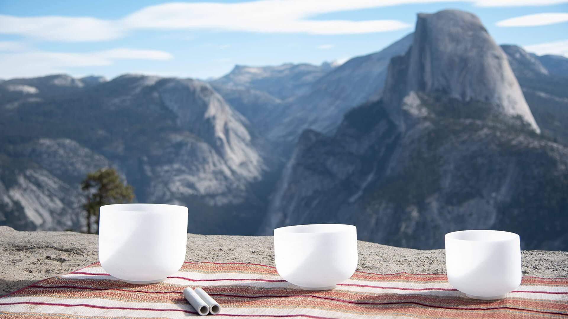 Three Crystal Sining Bowls In Yosemite