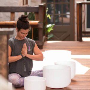 Jeny Dawson Meditating On Deck With Prayer Hands