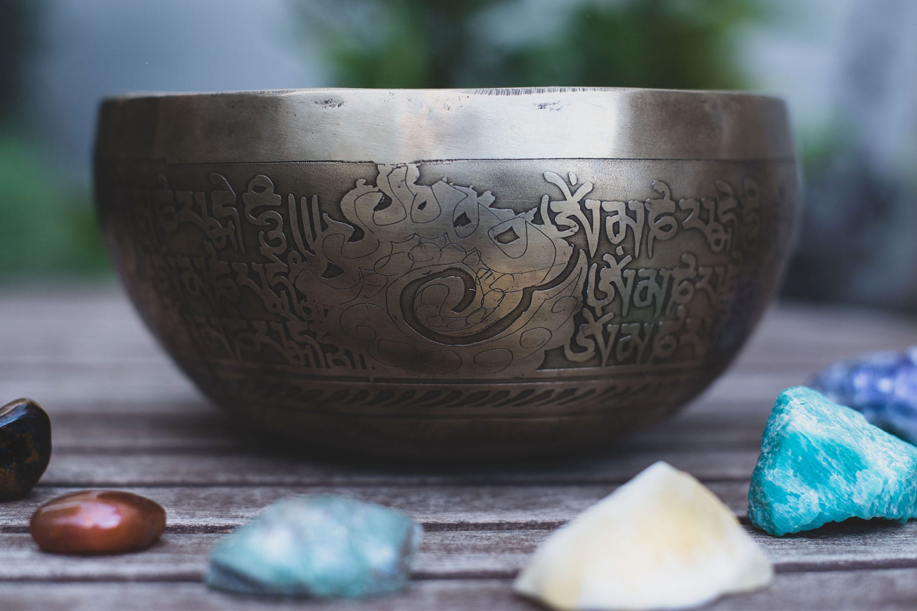 Brass Singing Bowl With Crystals