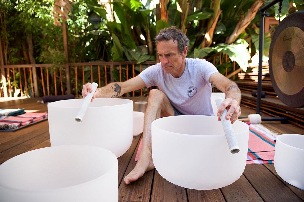 Mark Carter Playing Crystal Bowls