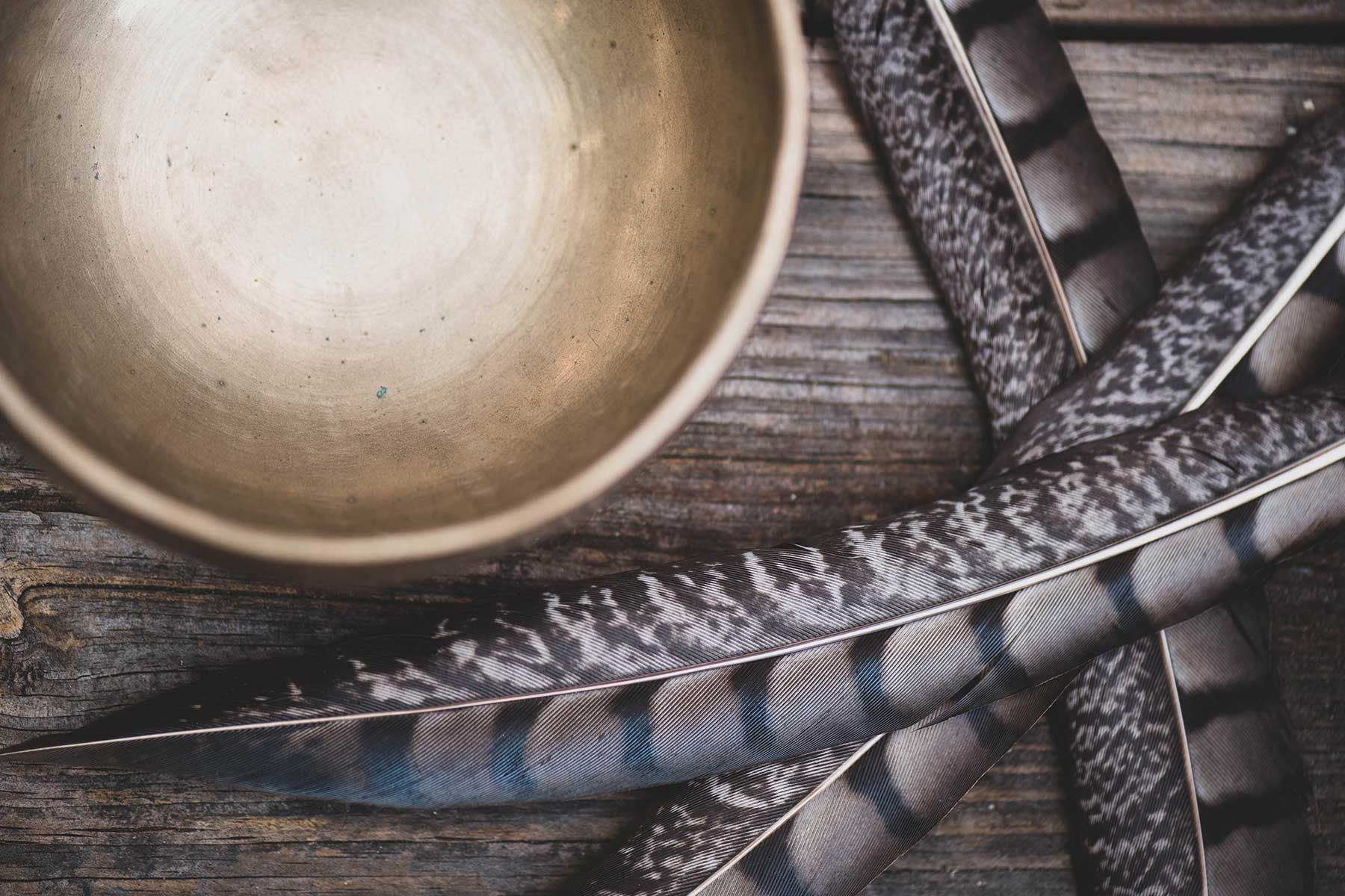 Brass Singing Bowl With Bird Feathers