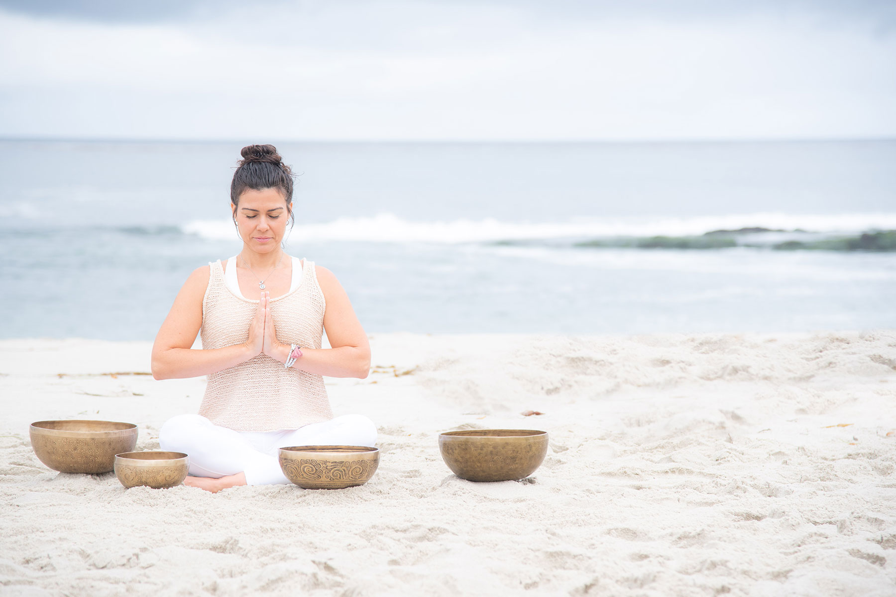 Jeny Dawson with Brass Bowls at the beach