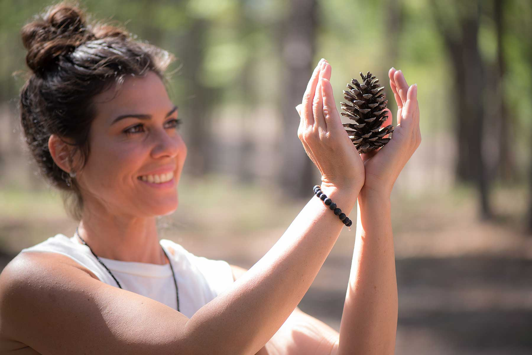 Jeny Dawson Holding A Pine Cone