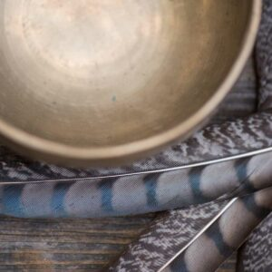 Brass Singing Bowl and Feathers